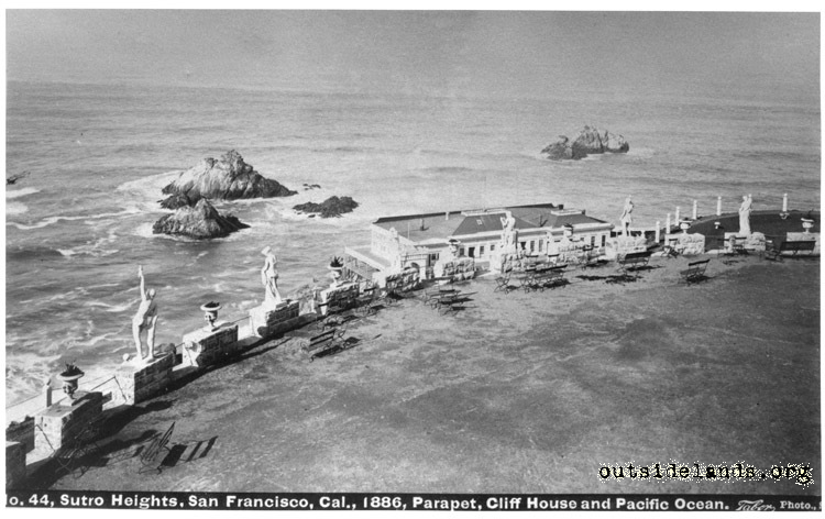 First Cliff House and Seal Rocks from Sutro Heights parapet