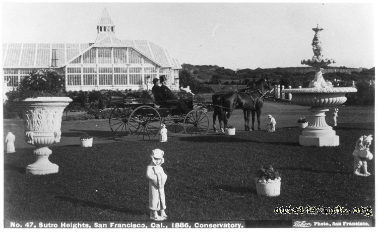 Sutro Heights. Conservatory, carriage circle, and fountain