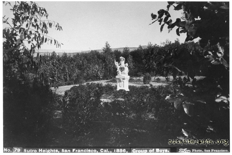 Sutro Heights. Statue Group of Boys surrounded by landscaping