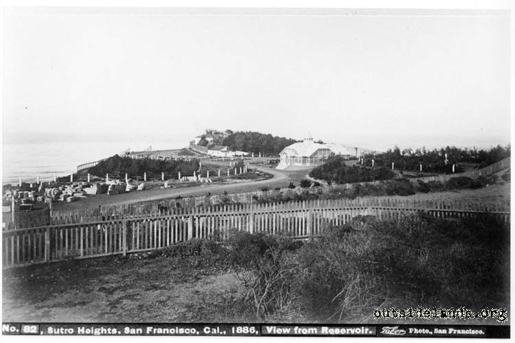 Sutro Heights. View showing Conservatory and unmounted statuary