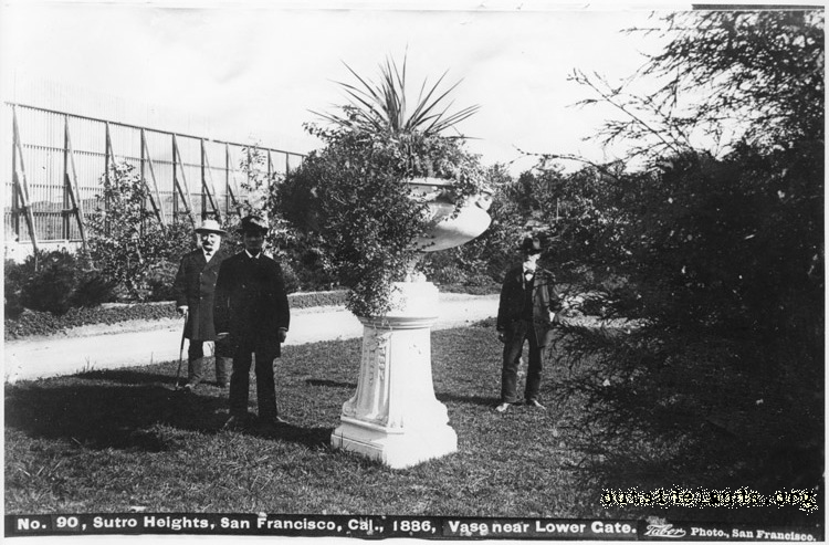Sutro Heights. Adolph Sutro and group near larger planter vase