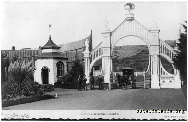 Sutro Heights. Main Entrance Gates with visitors and carriage
