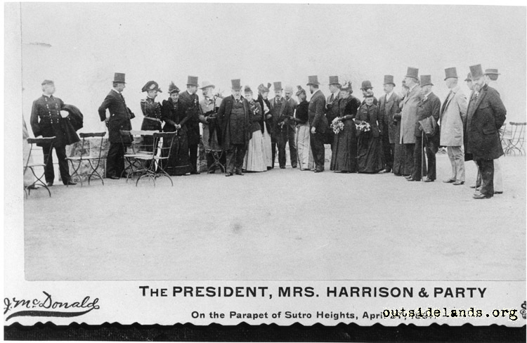 Sutro Heights. President Harrison & party on Parapet