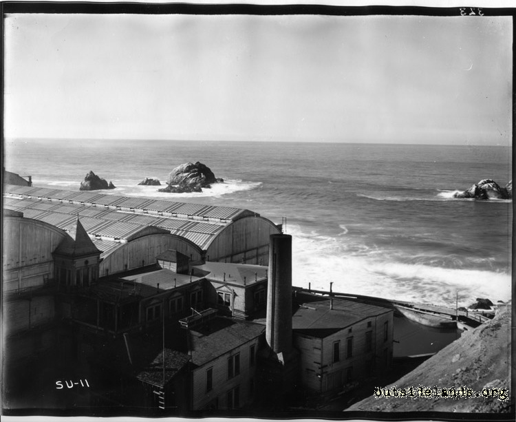 Sutro Baths. View of Seal Rocks, Baths, and Power House