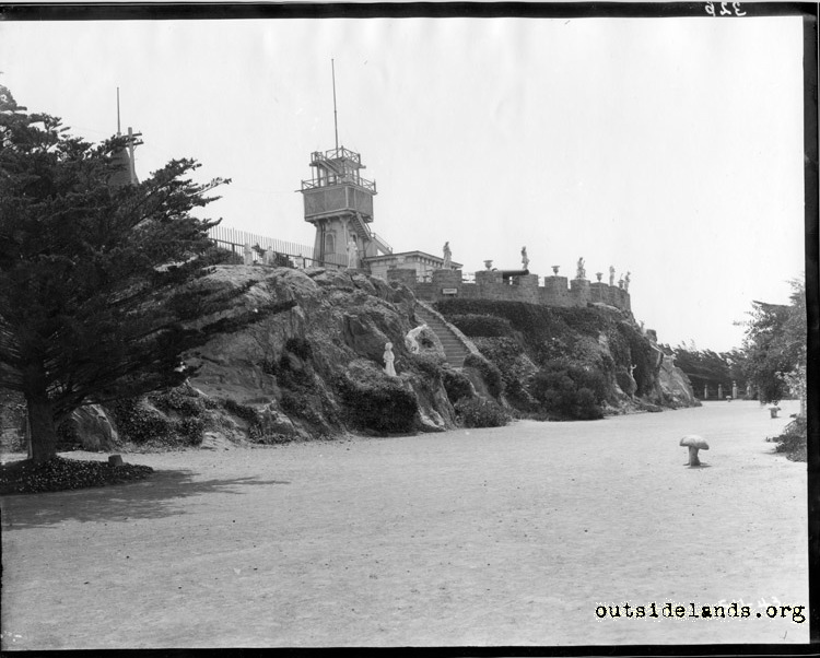 Sutro Heights. View of parapet from perimeter drive