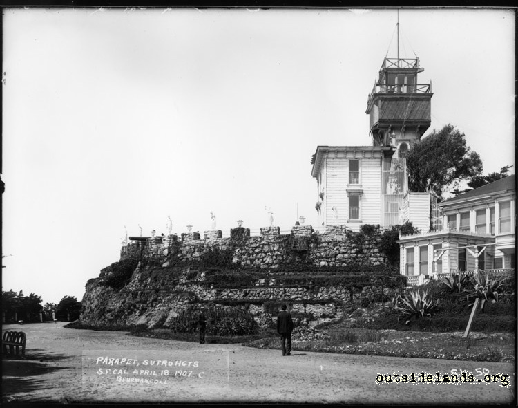 Sutro Heights. Sutro's residence, Parapet, and Observation Tower