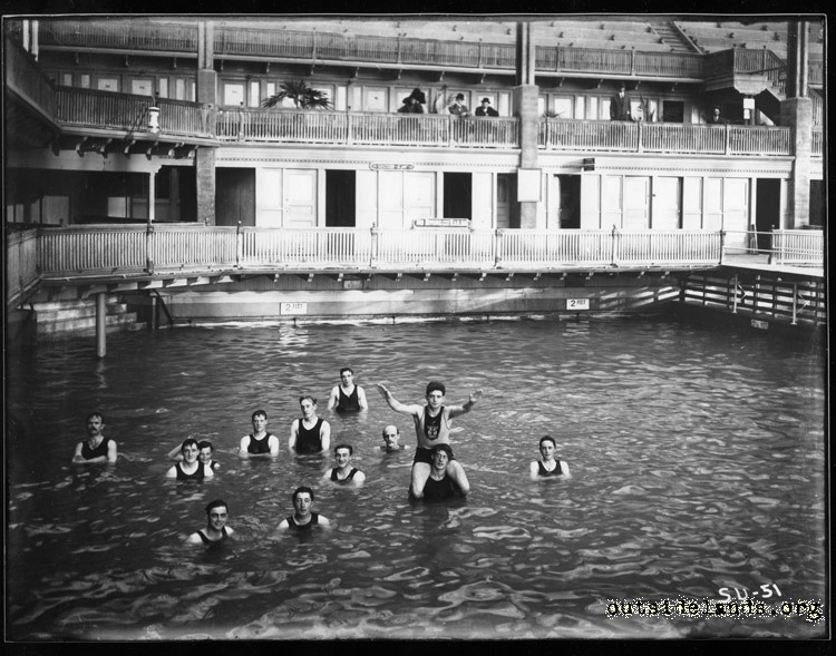 Sutro Baths. Male swimmers in pool 6