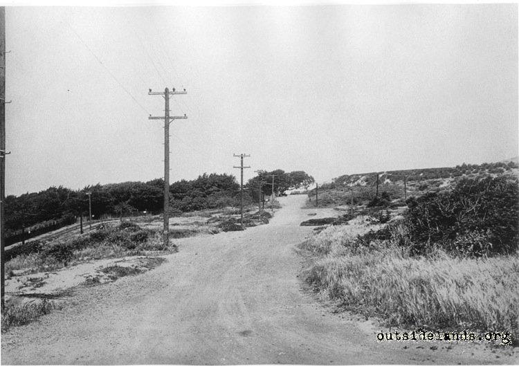 Merrie Way, looking north from Point Lobos Avenue