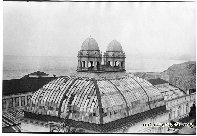 Sutro Baths. Dome and twin cupolas over mezzanine