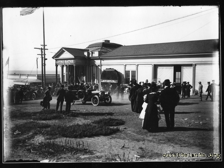 Sutro Baths. President Taft's motorcade passing main entrance