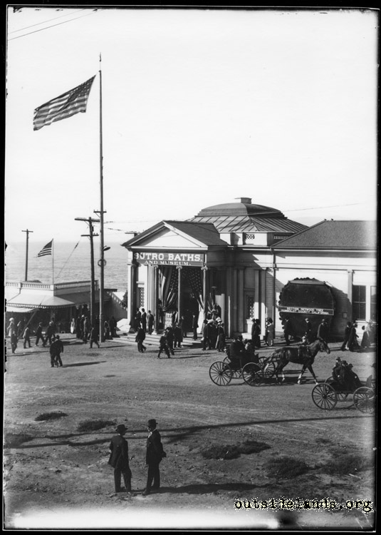 Sutro Baths. Main entrance dressed for President Taft's motorcade