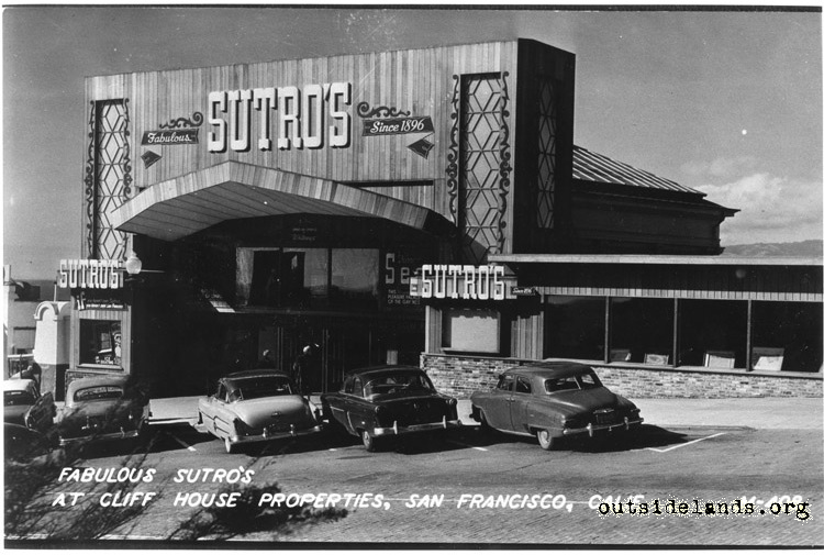 Sutro Baths. Main entrance with moderne redwood facade