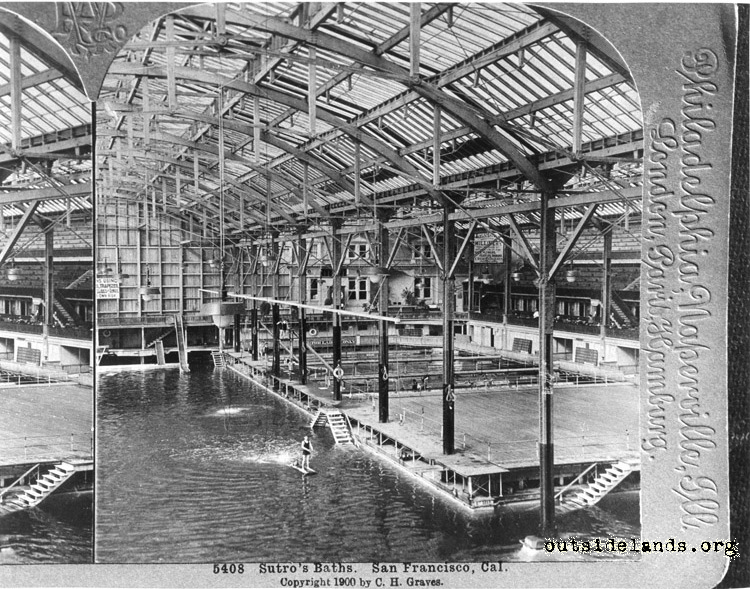 Sutro Baths. Interior view of main pool and smaller pools