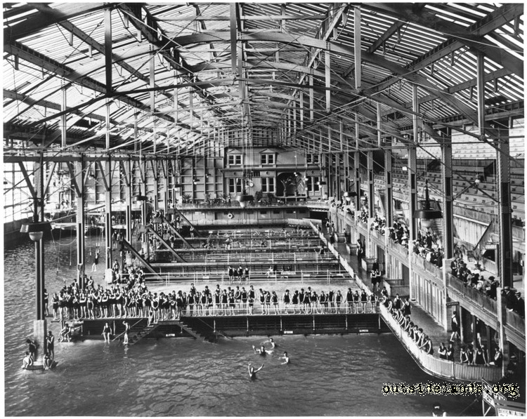 Sutro Baths. View of swimming pools looking north
