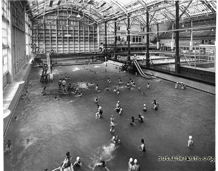 Sutro Baths. Swimmers in main tank