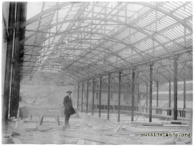 Sutro Baths. Adolph Sutro posing inside incomplete Baths