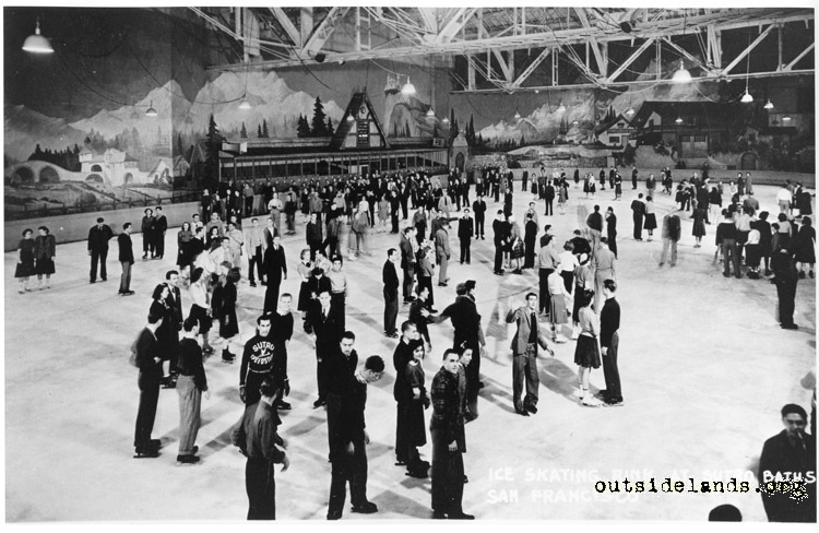 Sutro Baths. Ice skaters in skating rink