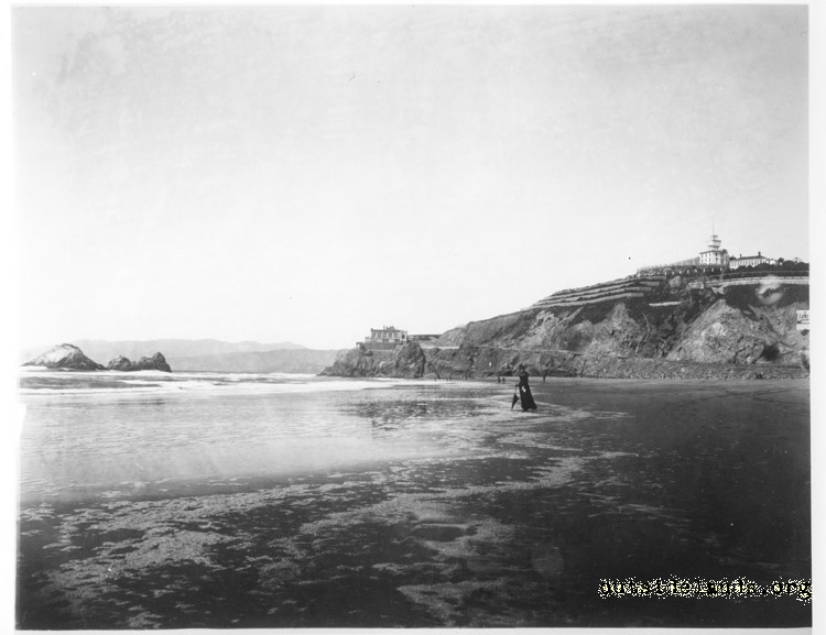 First Cliff House, Seal Rocks and Sutro Heights from Ocean Beach