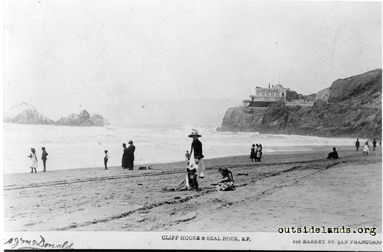 First Cliff House and Seal Rocks, from Ocean Beach