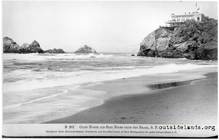 First Cliff House from Ocean Beach