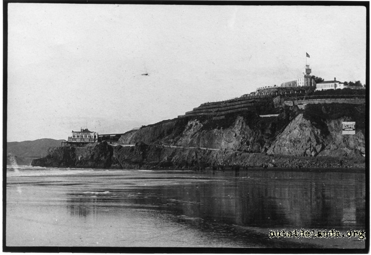 First Cliff House and Sutro Heights from Ocean Beach
