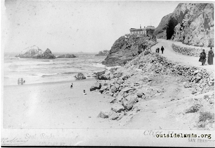 Second Cliff House and Seal Rocks from Cliff Road.