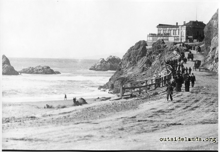 First Cliff House & Seal Rocks looking north on Cliff Road