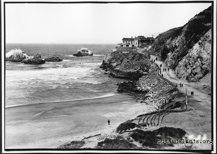 First Cliff House viewed from Ocean Beach Pavilion