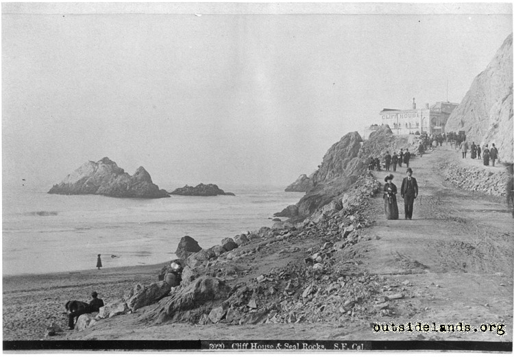 First Cliff House and Seal Rocks looking north along Cliff Road