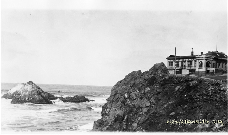First Cliff House and Seal Rocks, looking northwest on Cliff Road