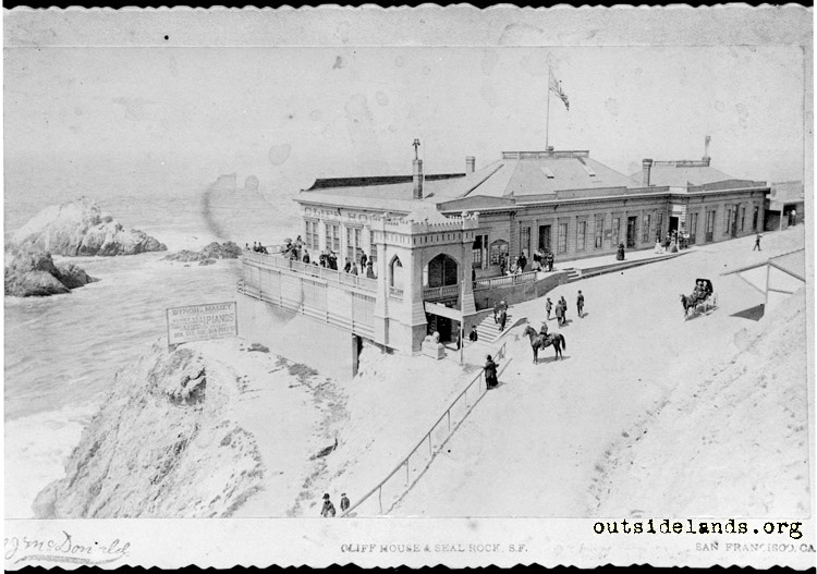 First Cliff House from slope below Sutro Heights