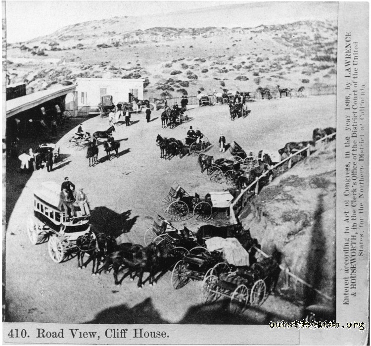 Cliff House. Carriages on Cliff Avenue north of Cliff House