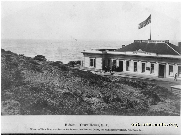 First Cliff House looking southwest from future Sutro Heights