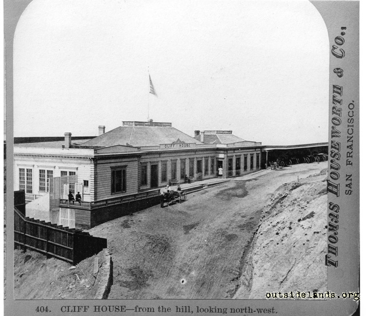 First Cliff House looking northwest from future Sutro Heights
