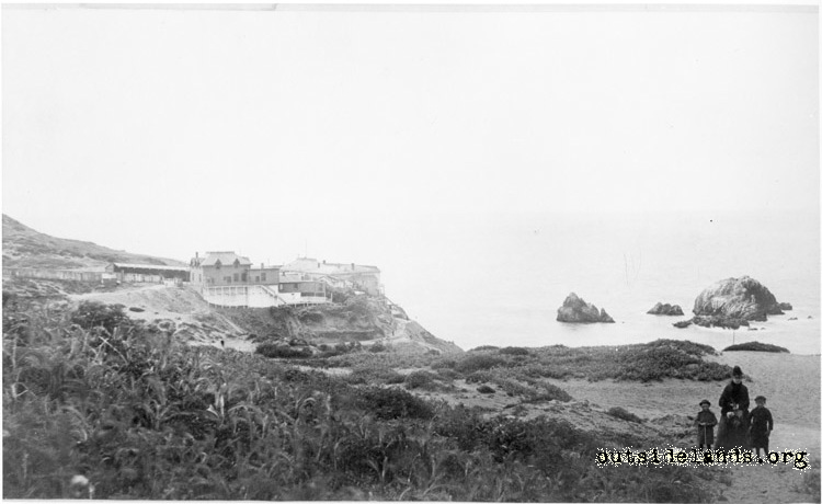 First Cliff House. View southwest from future Merrie Way