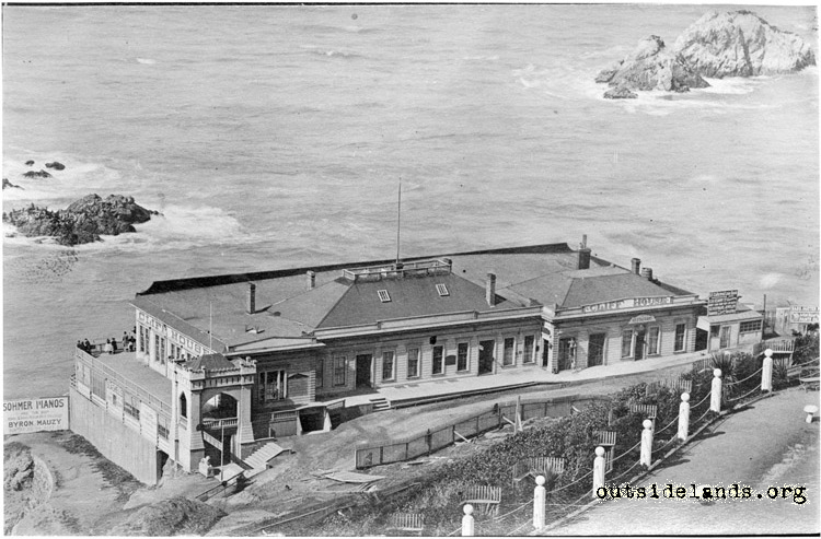 First Cliff House and Seal Rocks looking west from Sutro Heights Parapet