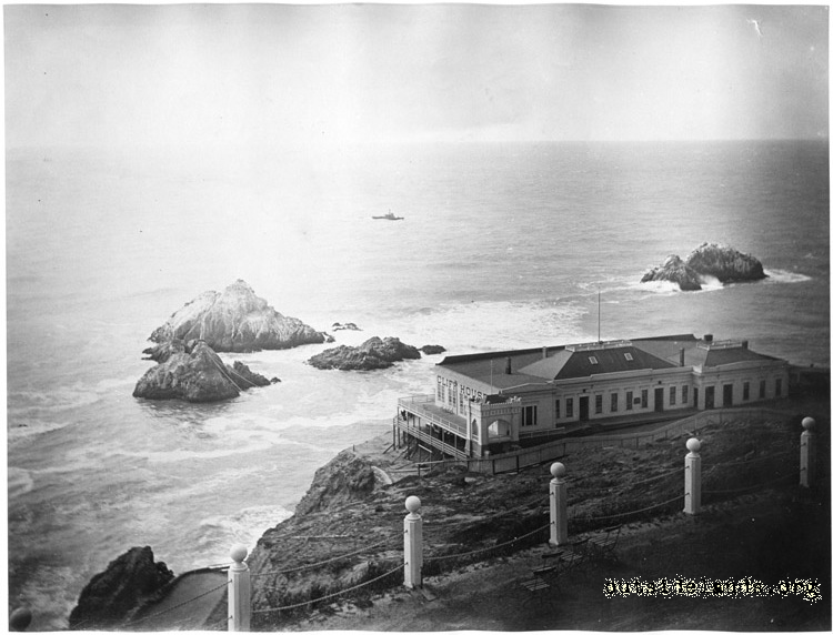 First Cliff House and Seal Rocks from Sutro Heights