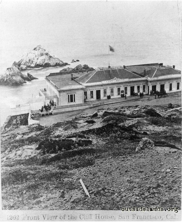 First Cliff House. Viewed from future Sutro Heights