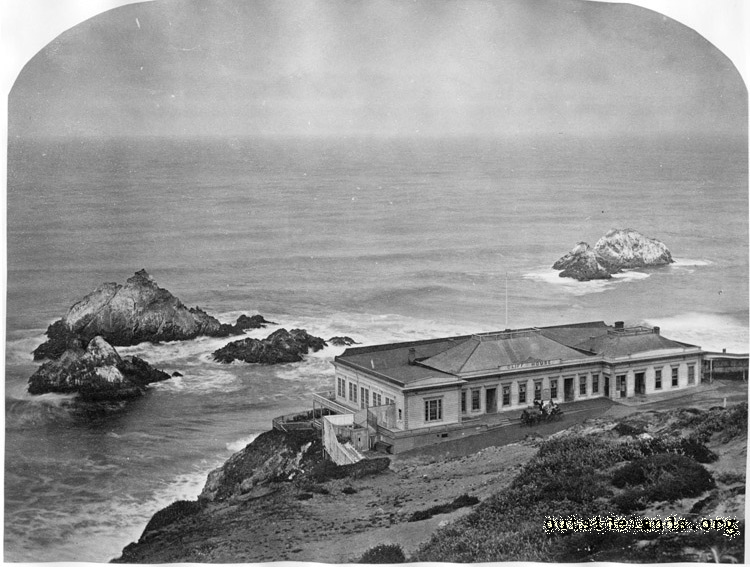 First Cliff House and Seal Rocks, from future Sutro Heights
