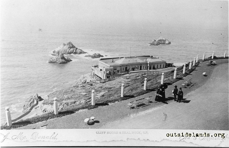 First Cliff House and Seal Rocks, from Parapet at Sutro Heights
