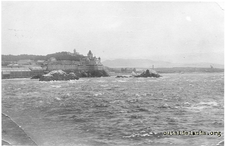 Second Cliff House and Seal Rocks from offshore