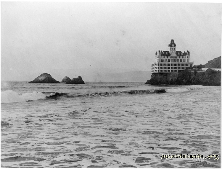 Second Cliff House and Seal Rocks, taken from Lurline Pier