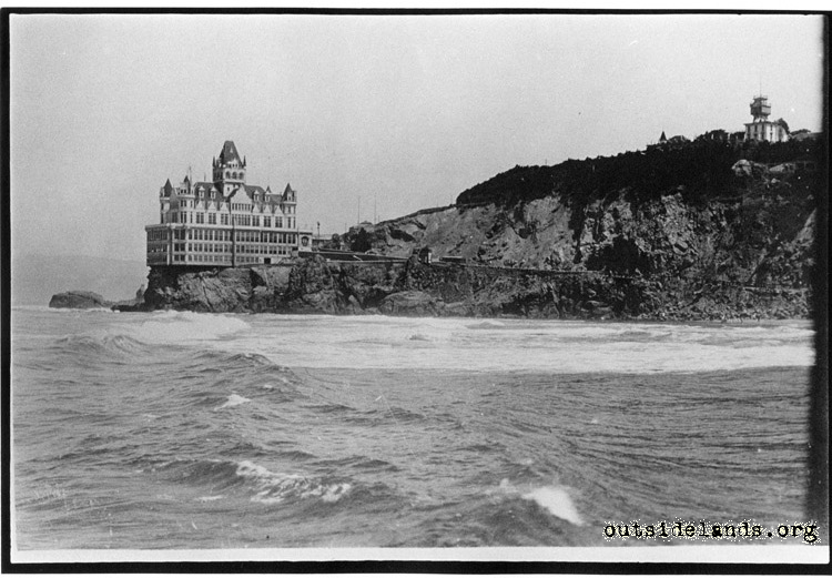 Second Cliff House and Sutro Heights, viewed from Lurline Pier