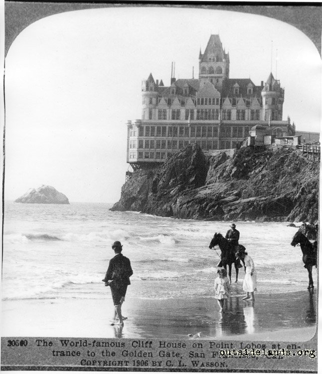 Second Cliff House from Ocean Beach. Two riders in foreground