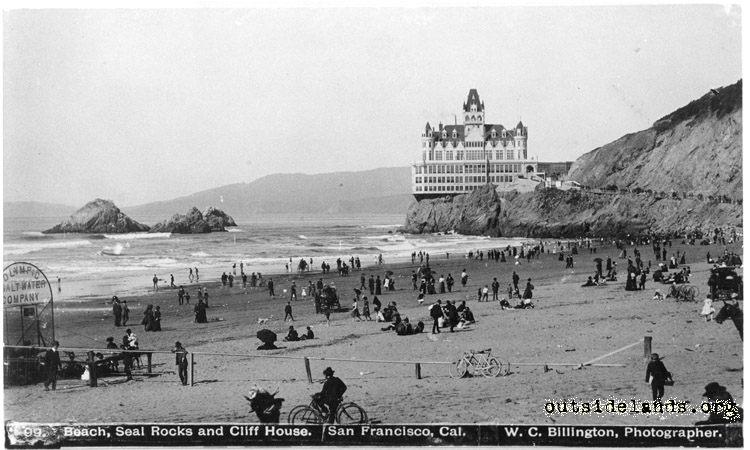 Second Cliff House and Seal Rocks from Ocean Beach