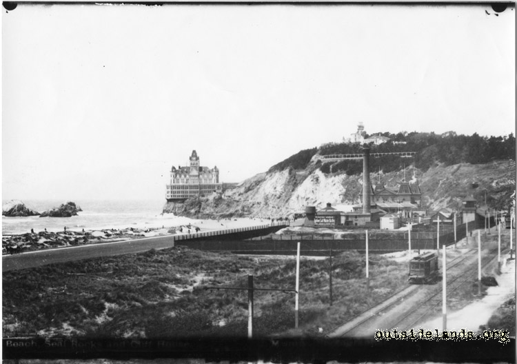 Second Cliff House from future Playland site. Lurline Saltwater pumping plant and Park & Ocean streetcar at right