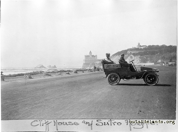 Great Highway. View north towards Second Cliff House and Sutro Heights