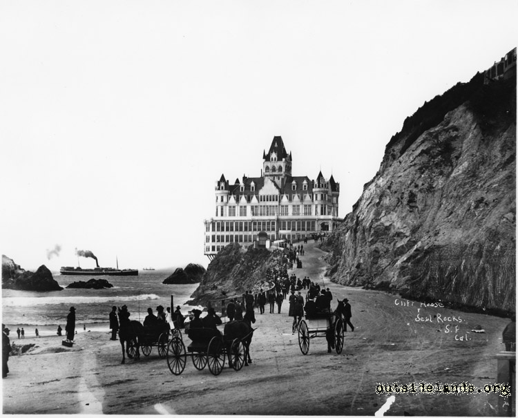 Second Cliff House and Seal Rocks from Cliff Road