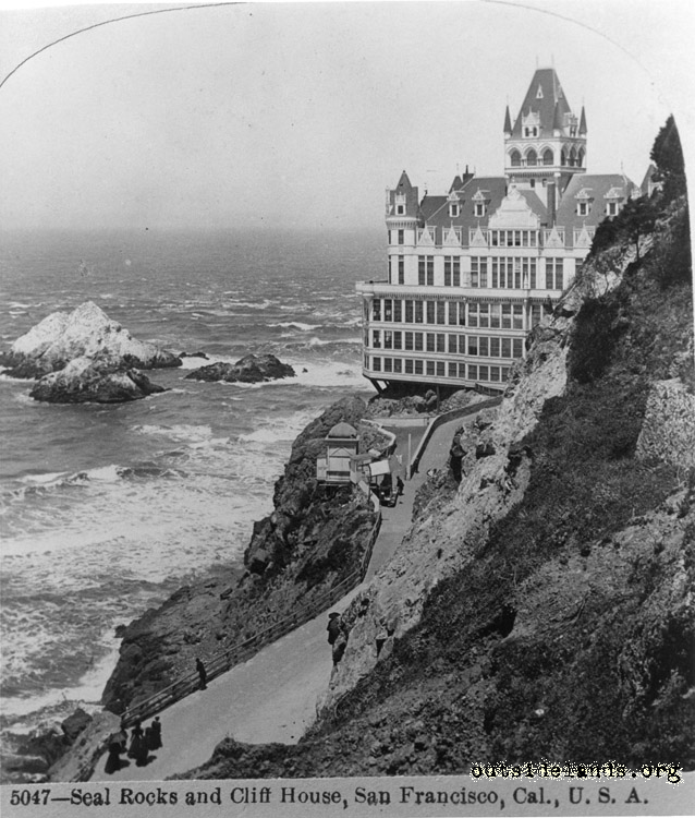 Second Cliff House and Seal Rocks from Sutro Heights