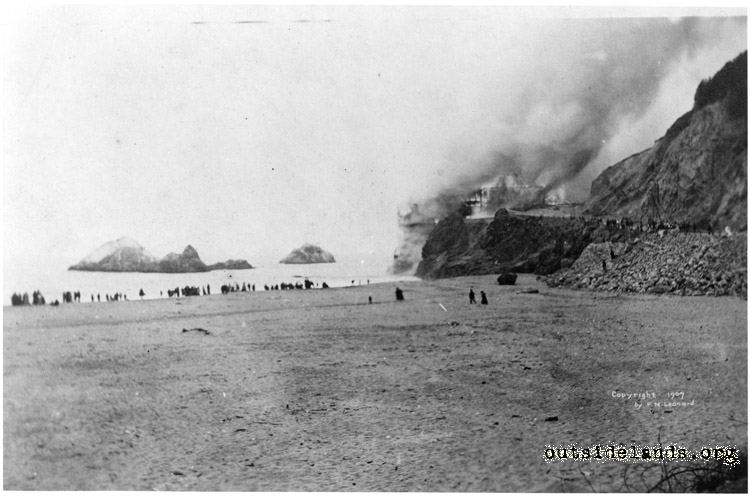Second Cliff House. Burning. View from Ocean Beach